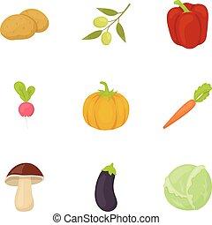 Vegetables setzt Symbole im Zeichentrickstil. Große Sammlung von Gemüse-Vektor-Symbol Aktien Illustration