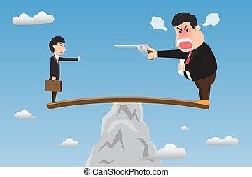 vektor, überhängen, seine, einschüchtern, böser , gewehr, abbildung, vorgesetzter, steilhang, holz, stehen, concept., employee., aktiv, gebrauchend, self-sabotage, dumm, karikatur, felsformation