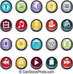 Vektor 3d multimediale Ikonen