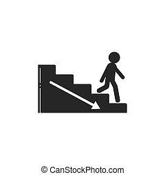 vektor, abbildung, gehen, upstair, leute, unten
