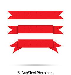 vektor, altes , weinlese, freigestellt, etikett, papier, geschenkband, populär, banner, rotes