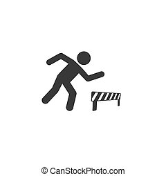 vektor, athlet, ikone, hürden, rennender