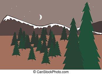 vektor, bäume, landschaftsbild, berg, abbildung