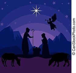 vektor, baby, joseph, kühe, design, frohe weihnacht, mary, geburt