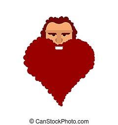 vektor, beard., herz, laden, geformt, zeichen., herrenfriseur, illustration?, liebe