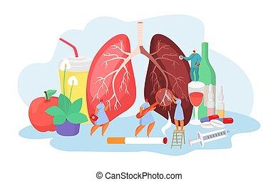 vektor, begriff, lungen, diagnose, illustration., medizin, desease, behandlung, pneumania, krankheit, doktoren