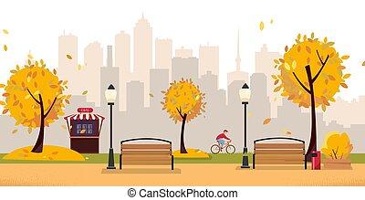 vektor, benches., holz, gebäude, aumumn, straße, high-rise, café, blatt, herbst, wohnung, bäume, gegen, stadt, radfahrer, park., karikatur, blühen, öffentlicher park, landschaftsbild, laternen, silhouette., abbildung
