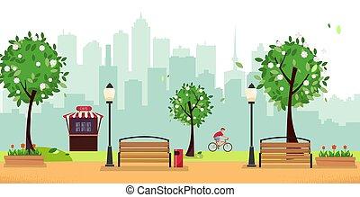 vektor, benches., holz, gebäude, straße, high-rise, café, wohnung, fruehjahr, bäume, gegen, stadt, radfahrer, park., karikatur, blühen, öffentlicher park, landschaftsbild, laternen, silhouette., abbildung