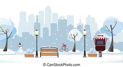 vektor, benches., holz, gebäude, winter, straße, high-rise, café, verschneiter , wohnung, bäume, gegen, stadt, radfahrer, park., karikatur, blühen, öffentlicher park, landschaftsbild, laternen, silhouette., abbildung