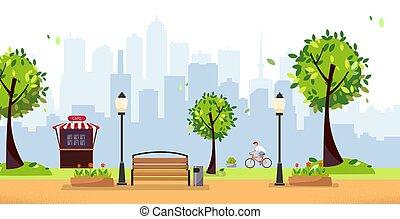 vektor, benches., holz, lichter, schnell, gebäude, lebensmittel, straße, high-rise, café, gasthaus, wohnung, gegen, stadt, sommer, radfahrer, park., karikatur, öffentlicher park, landschaftsbild, silhouette., abbildung