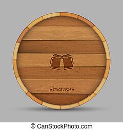 Vektor-Bierlabel in Form von Holzfässern