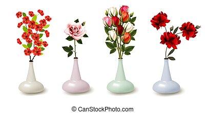 vektor, blumen, fruehjahr, sommer, bunte, vases., sammlung