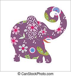 vektor, blumen-, karikatur, elefant, hell, abbildung