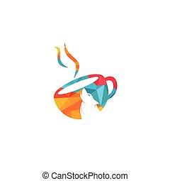 vektor, bohnenkaffee, logo, design., becher, wolf