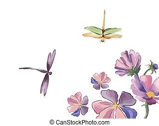 vektor, botanik, iris, weinlese, libelle, white., umrandungen, blumen