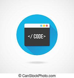 vektor, code, redakteur, ikone