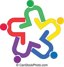 Vektor des Teamwork-Umarmung-Logos