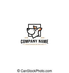 vektor, design, linie, hund, logo, kunst