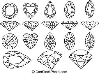 vektor, diamant, satz