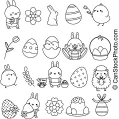 vektor, eier, kanninchen, kaninchen, style., groß, feiertag, kawaii, sammlung, linear, elemente, icons., andere, ostern, huhn, reizend, symbole