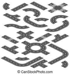 vektor, elemente, straße, schöpfung, landstraße, stadt, isometrisch, landkarte