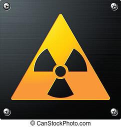 vektor, emblem, zeichen, radioaktivität