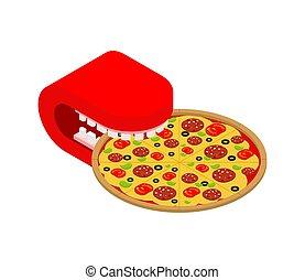 vektor, essende, isolated., pizza, schnell, abbildung, lebensmittel, mund
