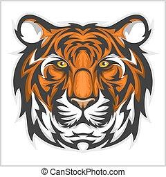vektor, face., tiger, head., tiger, abbildung