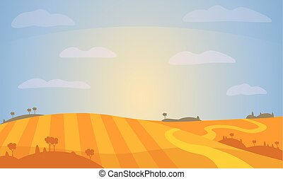 vektor, field., landschaftsbild, illustration.