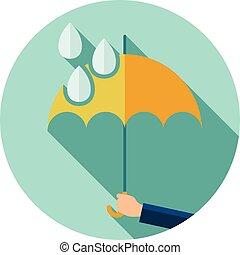 Vektor flaches Symbol für den Schutz von Regentropfen.