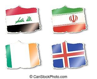 vektor, flaggen, welt, abbildung
