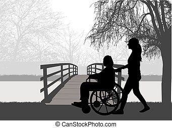 vektor, frau, silhouette, wheelchair.
