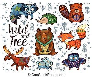 vektor, free., tiere, satz, waldland, wild, stammes-