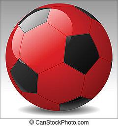vektor, fußball ball, rotes
