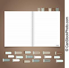 vektor, gedächtnisstütze, notizbuch, eps10, note.