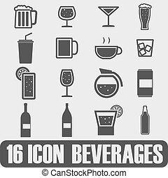 vektor, getränk, schwarz, satz, bier, heiligenbilder
