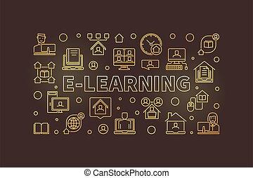 vektor, goldenes, begriff, horizontal, banner, e-lernen, linear