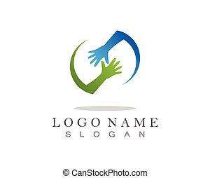 vektor, hã¤ndedruck, gemeinschaftsarbeit, hände, logo
