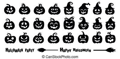 vektor, halloween, abbildung, satz, silhouette, kã¼rbis