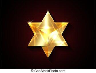 vektor, heilig, freigestellt, geistig, form., geometry., gold, symbol., 3d, goldenes, geometrisch, merkaba, linie, hintergrund, schlanke, dreieck, dunkel, esoterisch, fest, oder, rotes