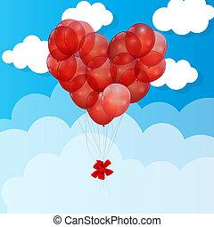 vektor, herz, balloon, hintergrund, abbildung
