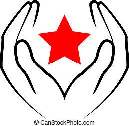 Vektor-Icon - Hände halten rote Statur