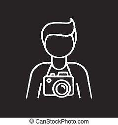 vektor, ikone, photojournalist, schwarz, employee., freiberuflich, paparazzi, foto, photographie, art., weißes, tafelkreide, bediener, hintergrund., fotograf, tafel, studio, cameraman., freigestellt, abbildung