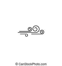 vektor, ikone, wind