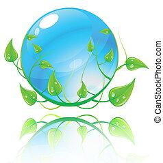 Vektor Illustration des grünen und blauen Umweltkonzepts.
