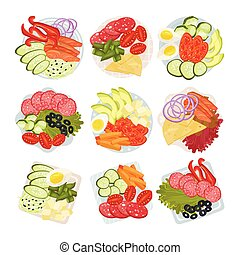 vektor, illustration., gehackt, satz, geschirr, vegetables.