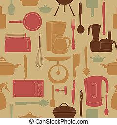 Vektor Illustrationsmuster von Küchenwerkzeugen zum Kochen
