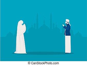 vektor, illustrator., gott, kareem, gebet, ramadan, leute