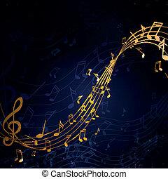 Vektor illustriert einen abstrakten Hintergrund mit Musiknotizen