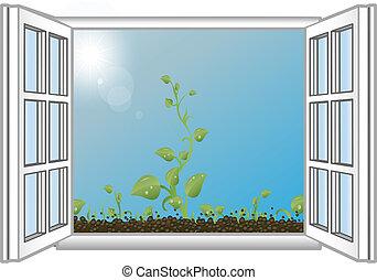 Vektor illustriert grüne Rosenkohl in einem offenen Fenster